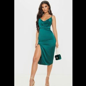 Emerald Green Satin Strappy Cowel Midi Dress PLT